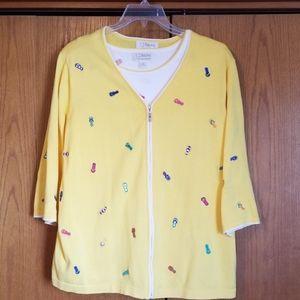 CJ Banks, sweater twin set, yellow and white, 2x